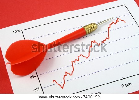 red dart pointing to the highest point in a line graph