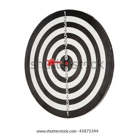 Red dart punctured in the center of the target