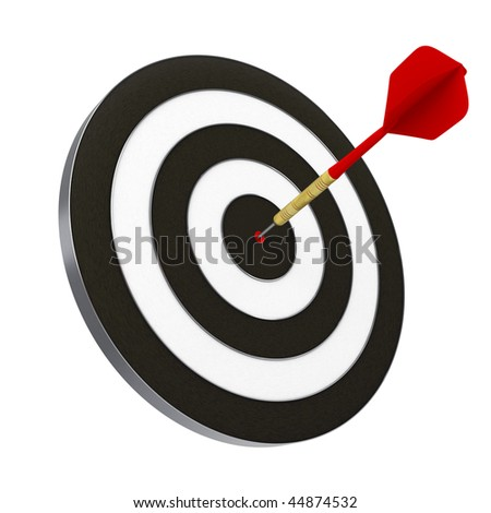 Red dart struck directly in center of target. Includes clipping path. - stock photo
