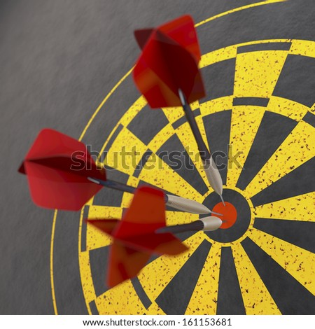 Red darts sticking in dart board, 3d rendering on grey background - stock photo