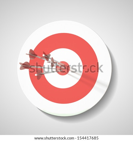 Red darts target, Successful shoot. - stock photo