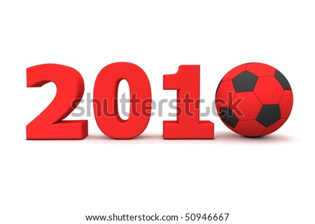 red date 2010 with a football replacing number 0 - stock photo