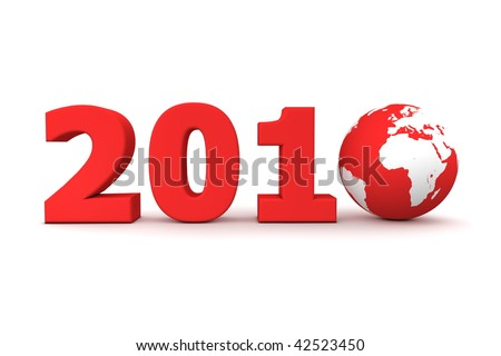 red date 2010 with 3D globe replacing number 0 - stock photo