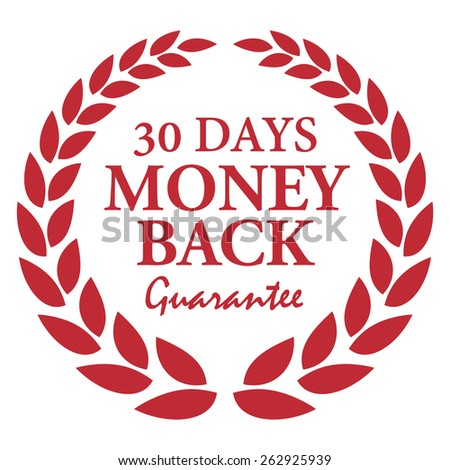 Red 30 Days Money Back Guarantee Wheat Laurel Wreath, Badge, Label, Sticker, Sign or Icon Isolated on White Background - stock photo