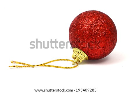 Red Decorating Ball Isolated on White Background.  - stock photo