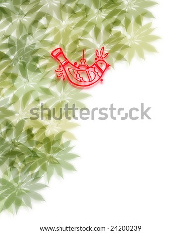 red decoration bird hanging in decor of soft green leaves - stock photo