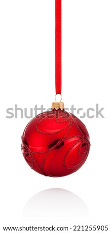 Red decorations Christmas ball hanging on ribbon Isolated on white background - stock photo