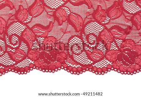 Red decorative lace with floral pattern - stock photo