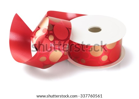 Red Decorative Ribbon on White Background - stock photo