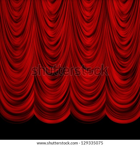 Red decorative vintage curtains over black background.