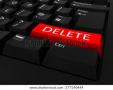 Red DELETE Key Keyboard Background - stock photo
