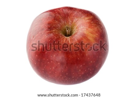 Red delicious apple view from above on a white background - Shallow Depth of Field -