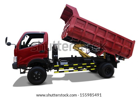 Red delivery truck isolated on white background - stock photo