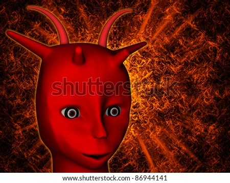 Red demon with horns on an abstract background - stock photo