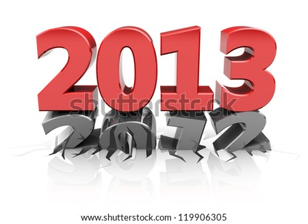 Red 2013 dent number 2012, new year concept - stock photo