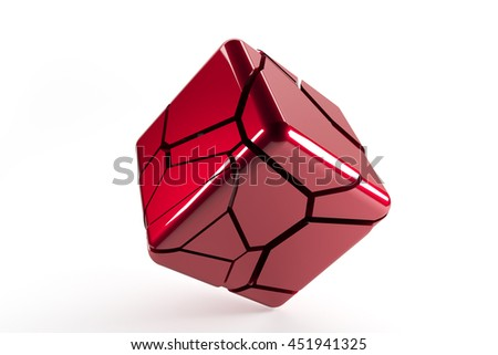 Red destructed cube with cracked lines on white background 3d render