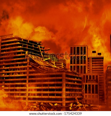 Red Destruction, an urban disaster image with a fiery background - stock photo