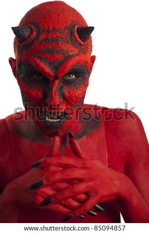 Red devil, white background. - stock photo