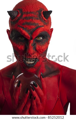 Red devil woman with her crystal ball, white background.