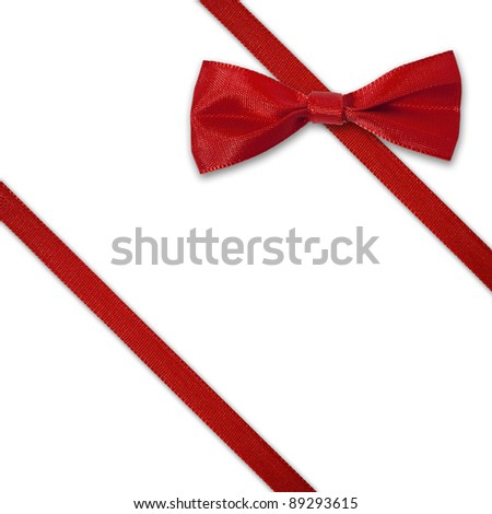 Red diagonal ribbon with bow on white background - stock photo