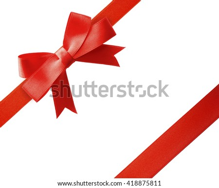 Red diagonal ribbons and bow, isolated on white