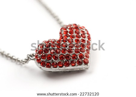 Red Diamond Heart - stock photo