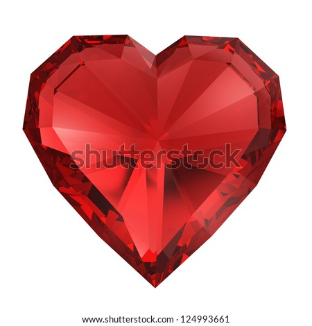 Red diamond heart isolated with clipping path - stock photo