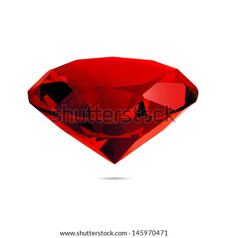 Red diamond  isolated on white background. Concept most precious beauty. - stock photo