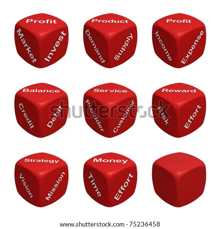 Red Dice Collection with words devoted to Business and Finance