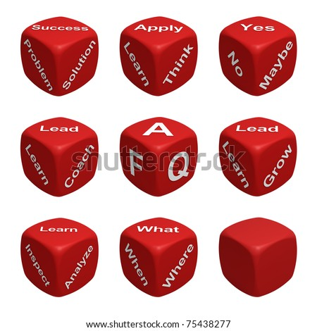 Red Dice Collection with words devoted to Learning - stock photo