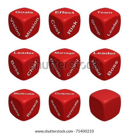 Red Dice Collection with words devoted to Management