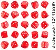 Red dice icons isolated on the white background - stock photo
