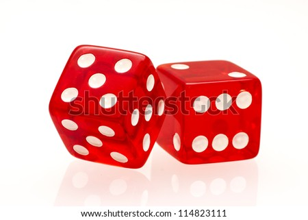 Red dice isolated on a white background - stock photo