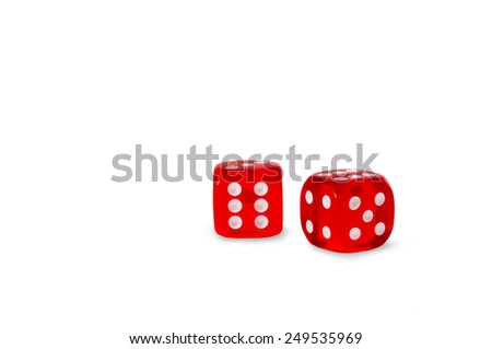red dice on a white background - stock photo