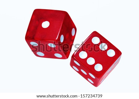 Red dice on white background. - stock photo