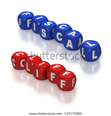 Red dice or cubes with text of Fiscal Cliff on white background