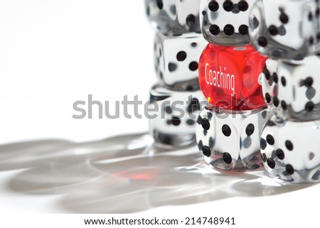 Red Dice Standing out from the crowd, Coaching concept. - stock photo