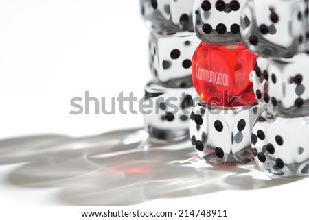 Red Dice Standing out from the crowd, Good Communication concept. - stock photo