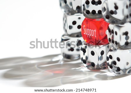 Red Dice Standing out from the crowd, Support concept. - stock photo