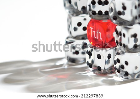 Red Dice Standing out from the crowd, Truth concept. - stock photo