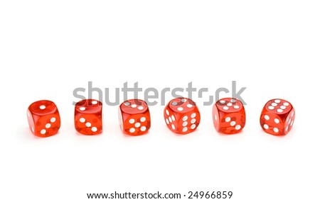 Red dice with each number facing up, isolated on white