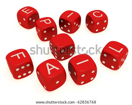 "Red dice with labeled ""Epic Fail"" on the upper plane - stock photo"