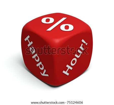 Red Dice with words Happy Hour and percent symbol on faces - stock photo