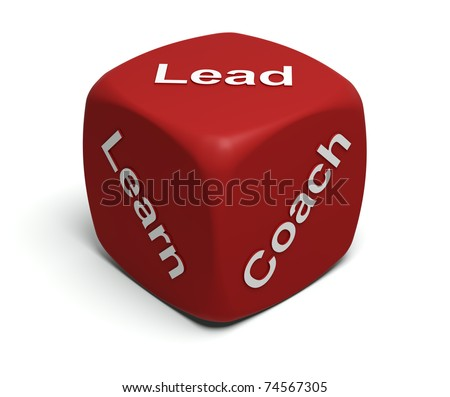 Red Dice with words Learn, Coach, Lead on faces - stock photo