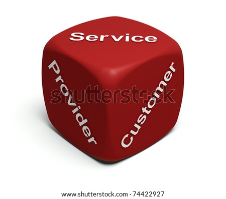 Red Dice with words Provider, Customer, Service on faces