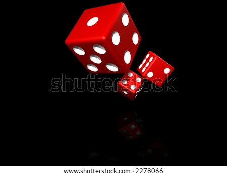 red dices isolated on black - stock photo