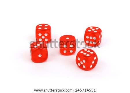 Red dices isolated on white - stock photo
