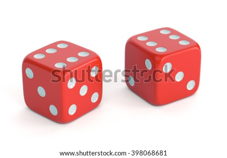 Red dices isolated on white background. Gambling, board games, casino and luck concept. 3D illustration