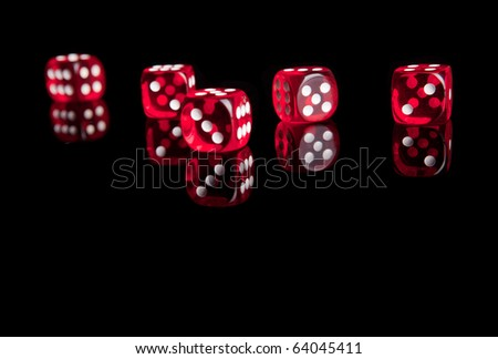 Red dices isolated with reflection - stock photo