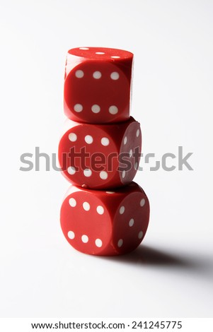 Red dices  on white background - stock photo